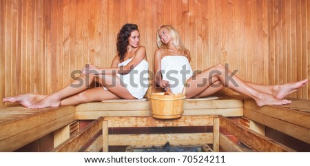two happy young women relaxing in a dry sauna