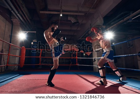 Two healthy sportsmen male boxers training kickboxing, fighting in the ring at the sport club