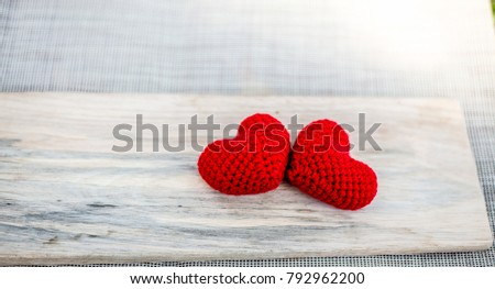 Two heart red on wood for valentine #792962200