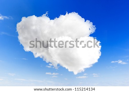 Two heart shape of cloud on blue sky background