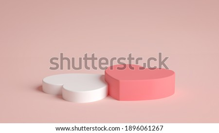Two heart shaped podiums for Valentines day in 3D rendering. Product display with valentine's day concept. Pink and white colors, Pedestal, Podium, Stand, 3D illustration.