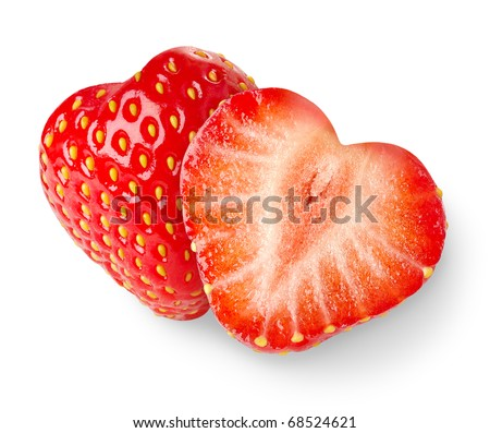 Two heart-shaped strawberries isolated on white