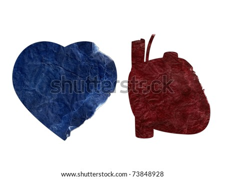 Two heart shapes torn and ripped (Clipping path included).