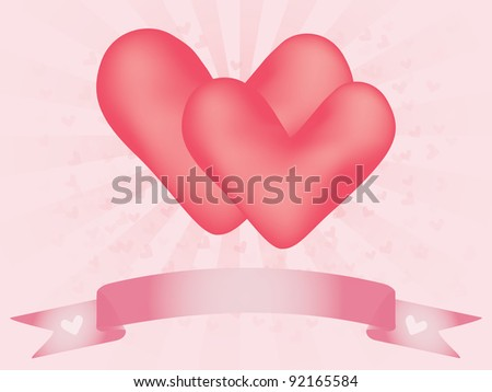 two hearts and banner over abstract background with valentines