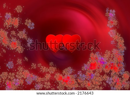 Two hearts and flowers - stock photo