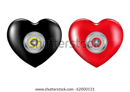 Two Hearts (Black and Red) With Combination Lock