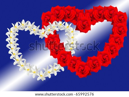 Two Hearts From Flowers As Symbol Love Stock Photo 65992576 ...