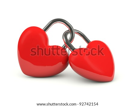 Two hearts locked together isolated on white - stock photo