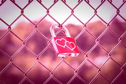 Two hearts on Love Lockers on the fence with pink tone style