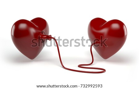 Two hearts with electric line with plug around. Blood donation hearts transfusion. 3D Render.