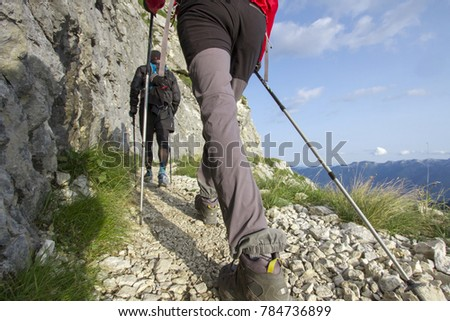 Two hikers  with trekking poles walking to the top #784736899