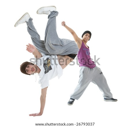 Two hip hop dancers isolated on white background