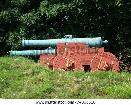 Two historic cannons made of cast bronze, Akershus fortress, Oslo, Norway - stock photo
