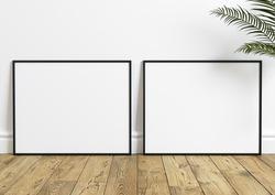Two Horizontal 8x10 Black Frame mockup. Horizontal Black frame on a wooden shelf with plant in a concrete vase. 3D illustration