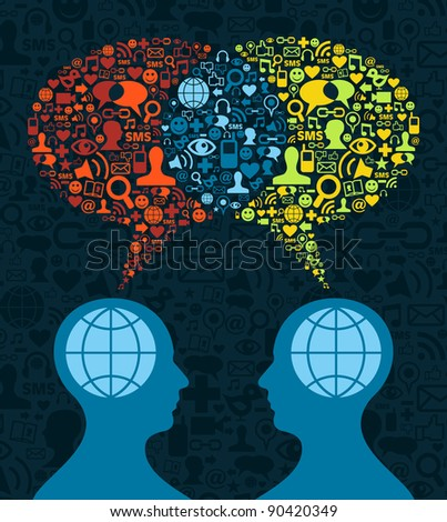 Two human figures face to face in business conceptual social media communication.