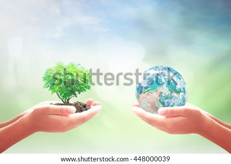 Two human hand holding blue planet and Heart shape of tree. Ecology, CSR, Earth Hour, Arbor, Idea, Kind, Globe, Garden, Energy, Seedling, Give, Synergy. Elements of this image furnished by NASA.