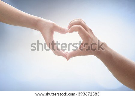 Two Human hands show heart shape. Nurses Share Cupid Image Trust Synergy Pair CSR Kind Water Autism World Ocean Day Help Gift Tied Couple Better God Son Ring Circle Party Card Vows Mother concept.