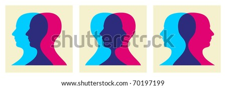 Two human heads interacting illustration. - stock photo