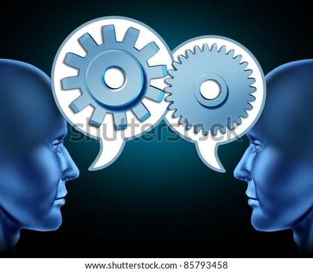 Two human heads sharing referrals to increase business opportunities represented by two faces talking with word bubbles with gears and cogs as symbols of networking.