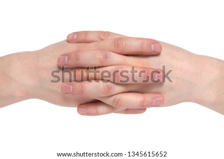 Two human join hands together isolated on white background, collaboration of business concept, teamwork concept, union concept, solidarity concept.
