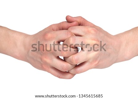 Two human join hands together isolated on white background, collaboration of business concept, teamwork concept, union concept, solidarity concept. #1345615685