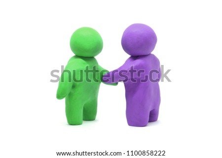 two human plasticine clay isolated on white background
