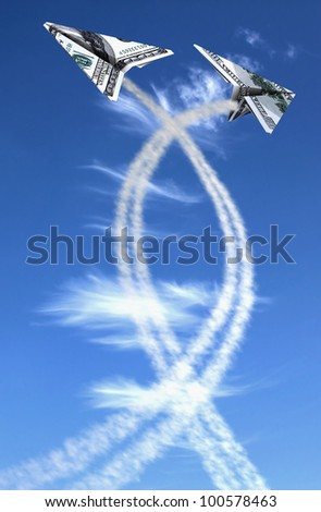Two hundred dollars planes on cloudy sky and trace .