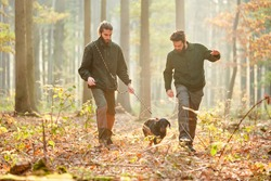 Two hunters with a hawk on a hunt in autumn in the forest or forest district