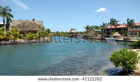 Two huts made from palms in Belize, Luxury accomodation - stock photo