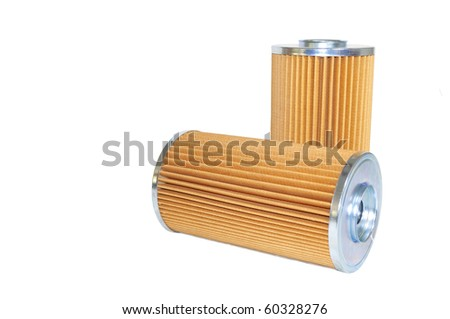 Two Hydraulic Filters used for filtering a Hydraulic System (Isolated)