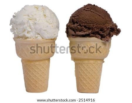 Chocolate and vanilla ice cream coneVanilla And Chocolate Ice Cream Cone