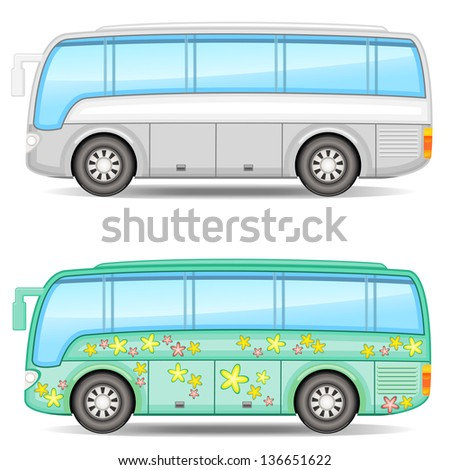 Two icons of big colorful touristic buses with shadow