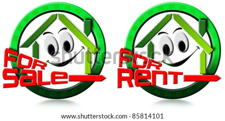 Two icons with stylized smiling and written home for sale and for rent