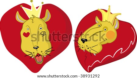 two Illustrations of a lion's head with a crown