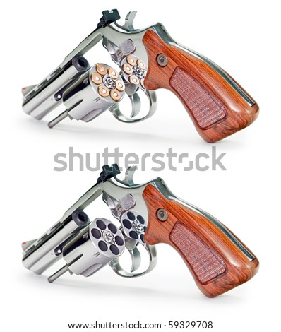 Two image of the same gun (empty and full of bullet) on a white background.