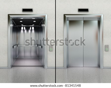 Two images of a modern elevator with opened and closed doors - stock photo