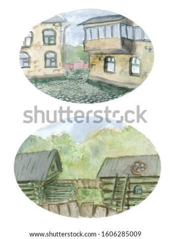 Two images on one sheet in an oval frame, urban and rural landscape with a staircase, a log of wood, two rural houses, grass, trees, a roof. Georgian motifs, two houses, windows, glazed balcony.