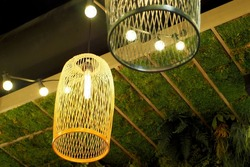 two incandescent Lamps in an oval metal chandelier in the loft style side view with a green and black ceiling . retro lamp shape