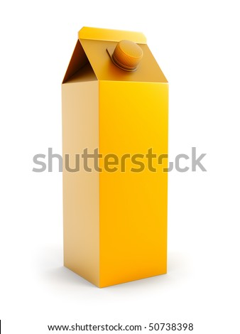 two isolated blank juice box 3d rendering - stock photo