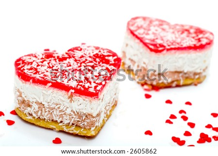 Two jelly heart-shaped cakes