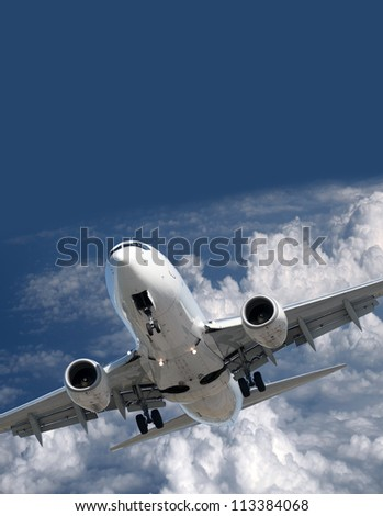 Two jet engine aircraft flying