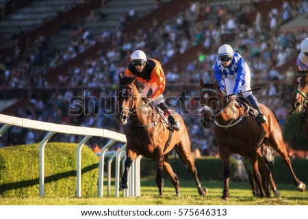 Two jockeys during horse races on their horses going towards finish line. Traditional European sport. #575646313