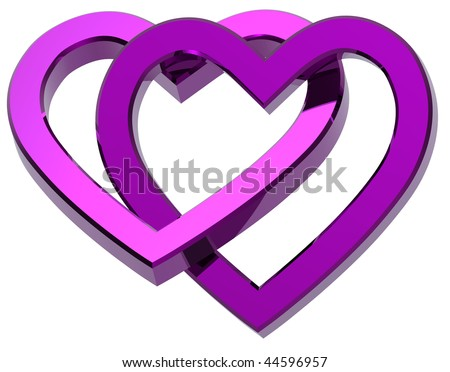 Two joined violet hearts isolated on white. Computer generated 3d photo rendering.