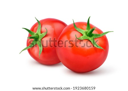 Two Juicy red tomatoes  isolated on white background.