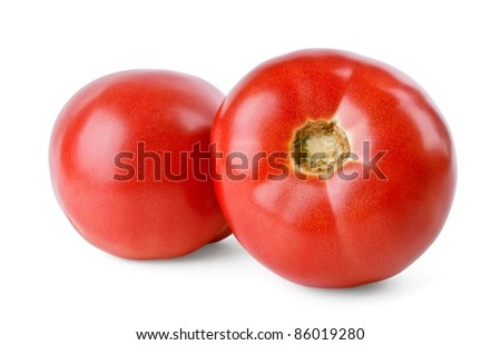 Two juicy tomatoes on white background