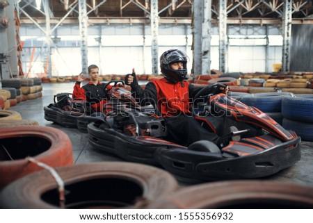 Two kart racers, karting auto sport indoor #1555356932