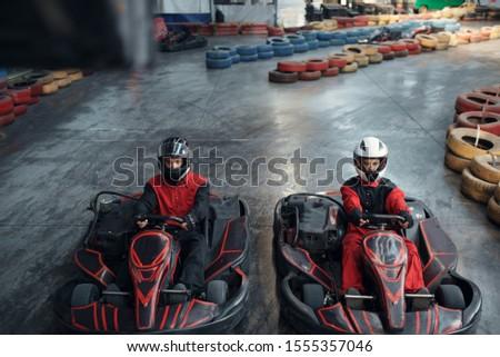 Two kart racers on start line, karting auto sport #1555357046