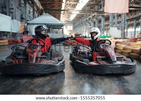 Two kart racers on start line, karting auto sport #1555357055