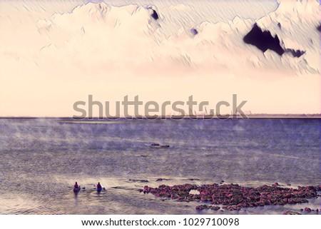 Two kayakers paddling at sea illustration