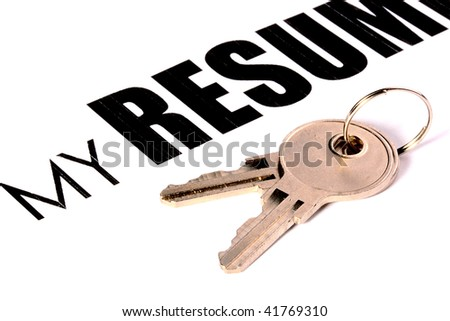 Two keys against a leaf with text My Resume. A creative with idea - open the resume.